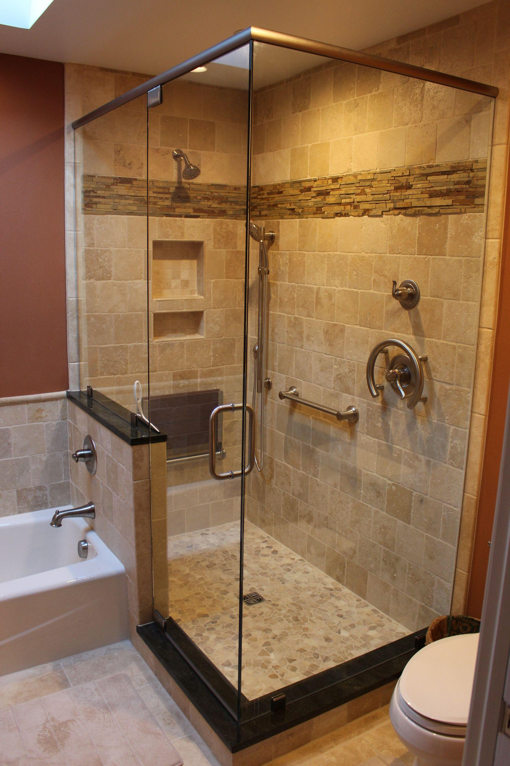 Travertine Shower Bath Surround And Heated Floor Field Stone Accent Best Bathroom Designs Travertine Floors Bathroom Bathrooms Remodel
