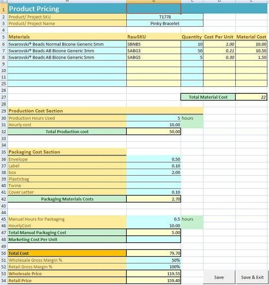 Jewelry and Craft Pricing Calculator and Pinterest Calculator - product pricing calculator
