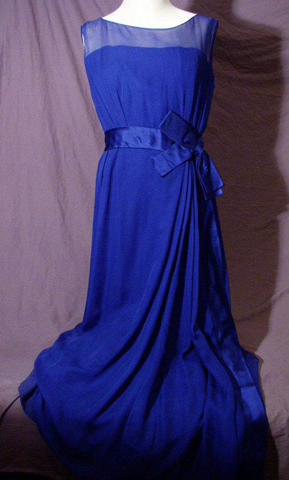 Vtg 1965 ETHEREAL SILK CHIFFON Navy Full Length Gown with Satin Bow ...