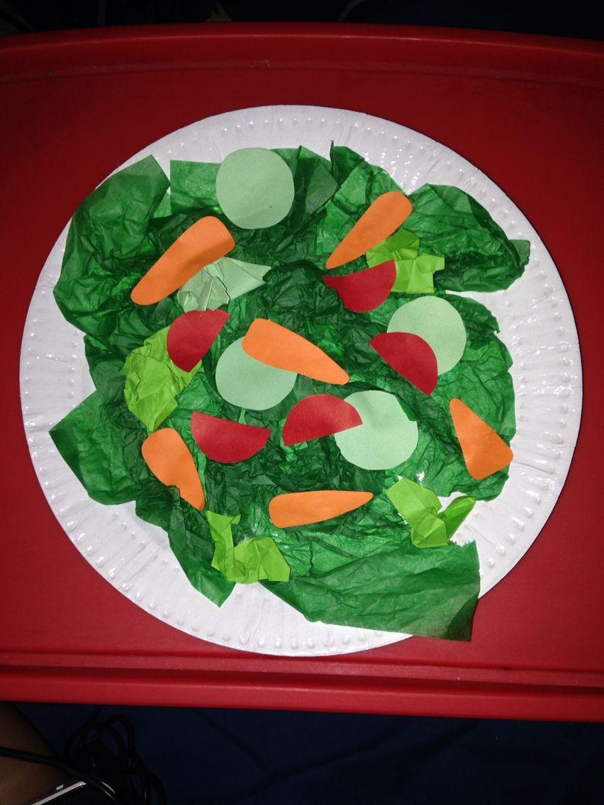 Preschool Veggie Salad Craft   Healthy food art, Food art ...