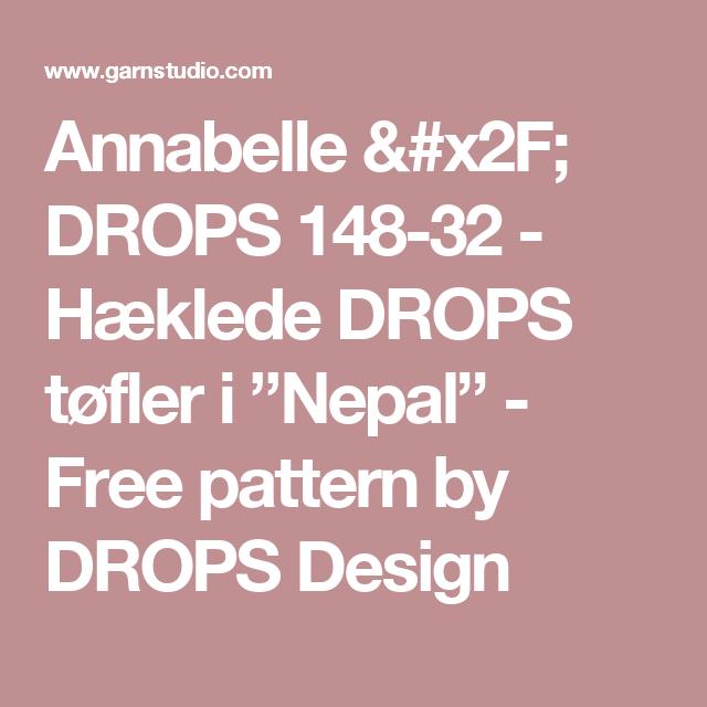 """Annabelle / DROPS 148-32 - Hæklede DROPS tøfler i """"Nepal"""" - Free pattern by DROPS Design"""