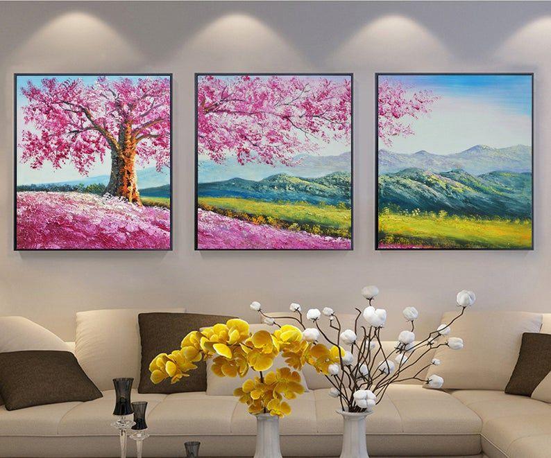 Gran Tamano Enmarcado Pintado A Mano Rosa Cerezo Casa Etsy In 2020 Multiple Canvas Paintings Landscape Art Painting Abstract Tree Painting