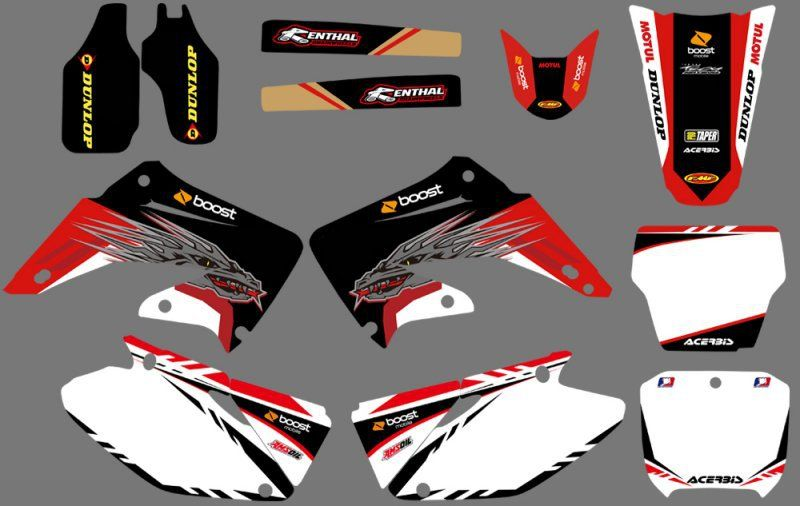 GRAPHICS & BACKGROUNDS DECAL STICKER Kit for Honda CR125