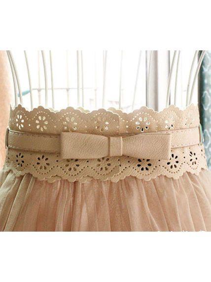 delicate! daisy eyelet butterfly bow belt