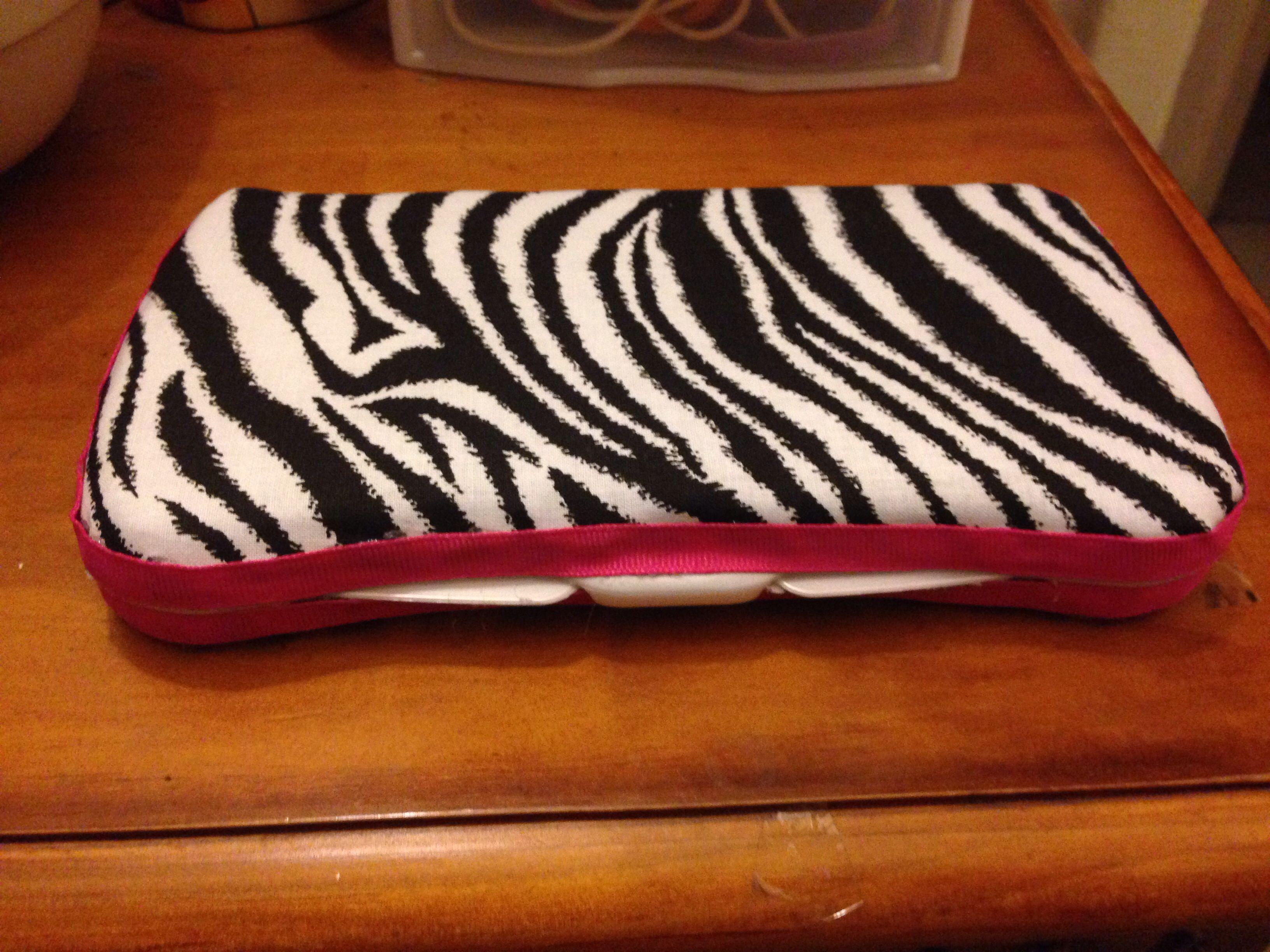 Plain zebra with hot pink trim travel wipe case Baby