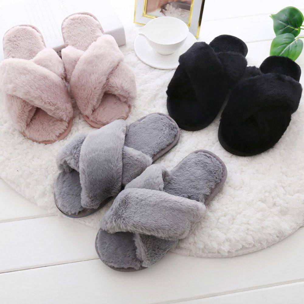 Photo of Womens Fluffy Soft Faux Fur Flat Slipper Flip Flop Sandals Shoes
