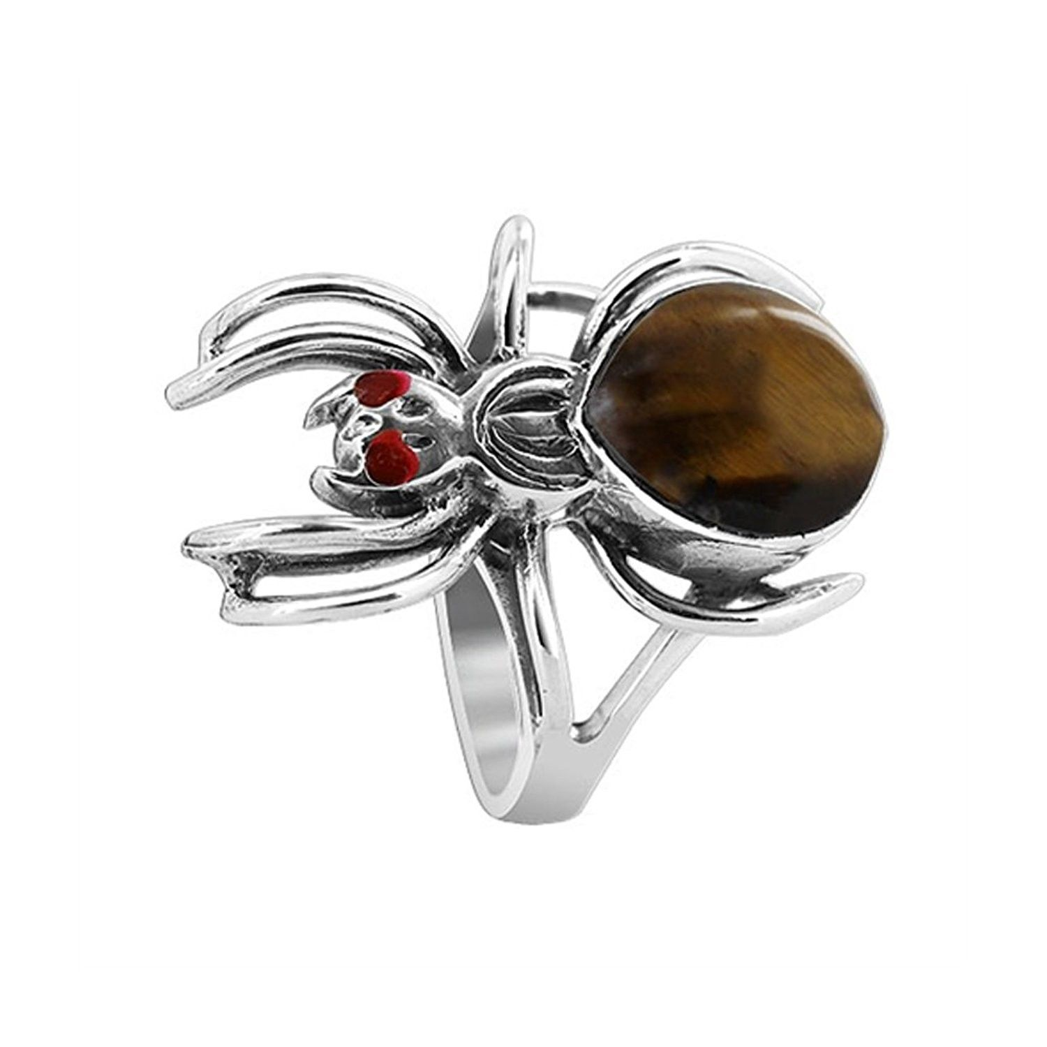925 Sterling Silver Widow Spider with Brown Tiger eye