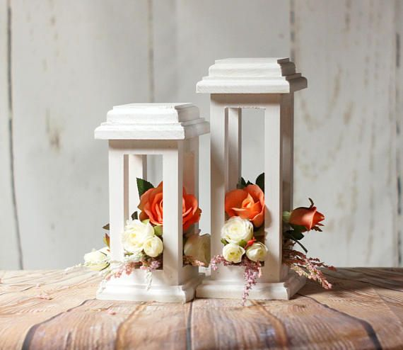 White Wedding Lantern Centerpiece, Candle Lantern, Wedding