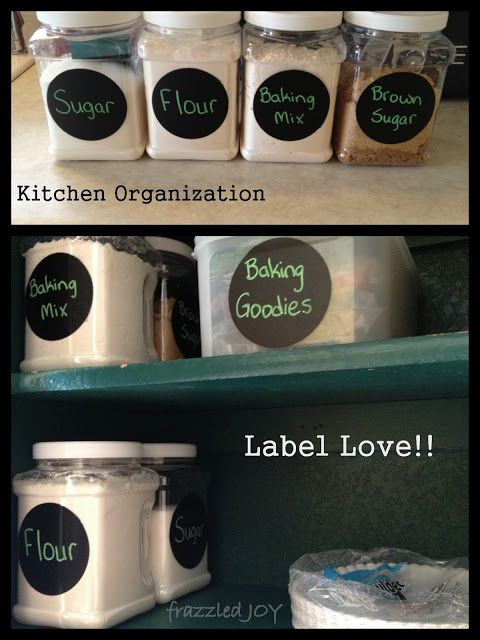 Use chalkboard vinyl to label WalMart containers! Let's Get Organized!