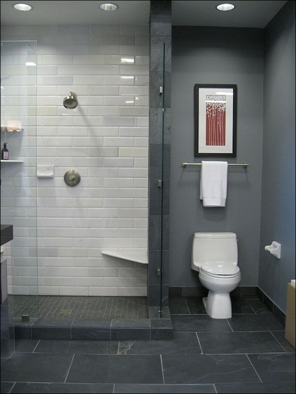 Dark grey floor tiles  elongated white for shower also bathroom pixels ct