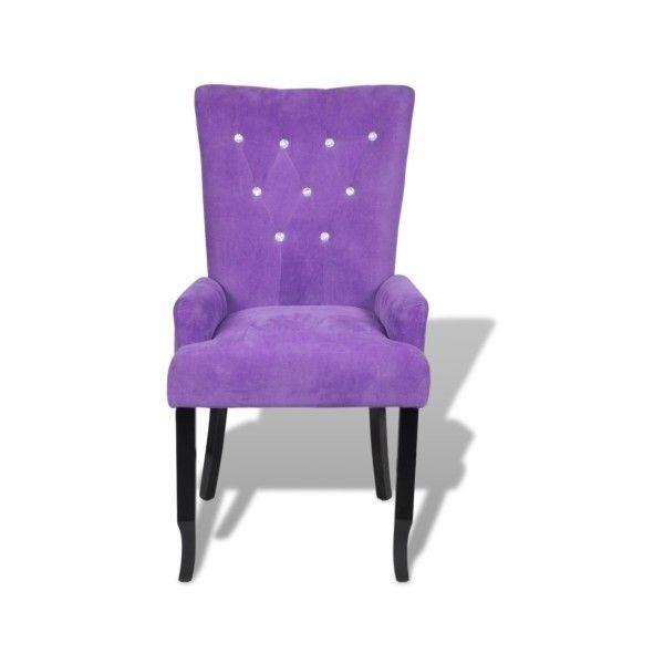 Purple Luxury Armchair Velvet Coated Purple   LovDock.com ($114) ❤ Liked