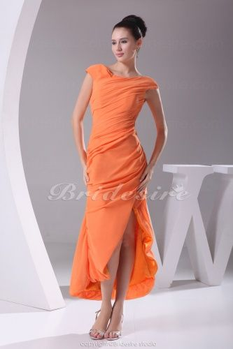 Sheath/Column Off-the-shoulder Ankle-length Short Sleeve Chiffon ...