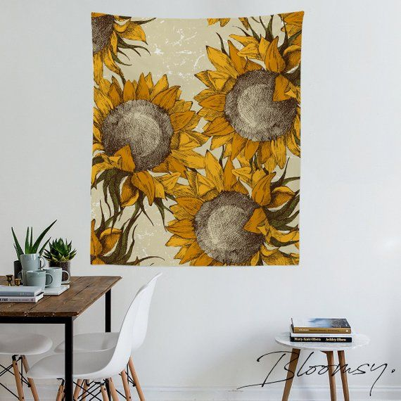 sunflowers tapestry, floral, flowers, meadow, sun, wall hangings