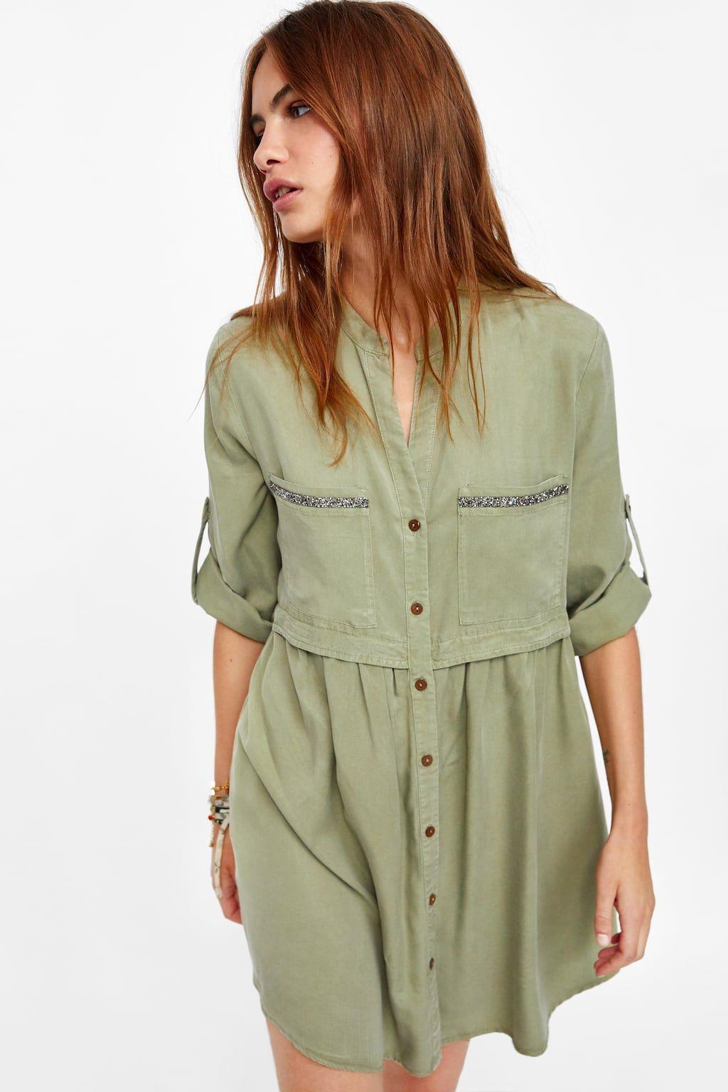 77198c8c495 Image 4 of BEADED SHIRT DRESS from Zara