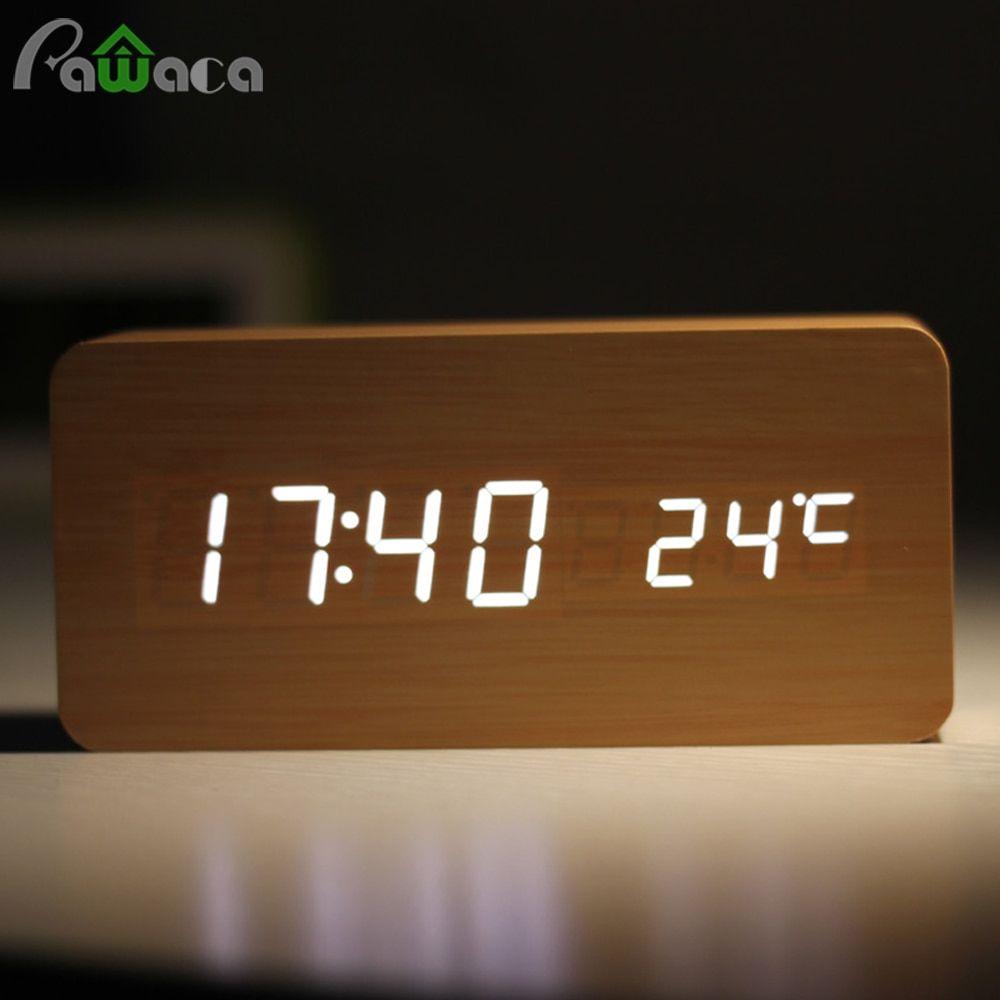 Home Decor Digital Sound Voice Control Alarm Clocks Wood Led Light