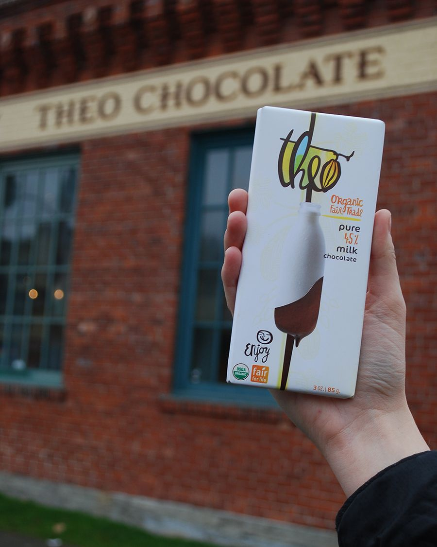Theo Chocolate Factory in Seattle. Traveling and working in the tropics of Central America and Africa, Joe Whinney fell in love with the land and the people farming there. He recognized an injustice in the way that both were being exploited and wanted to do something to make a difference.