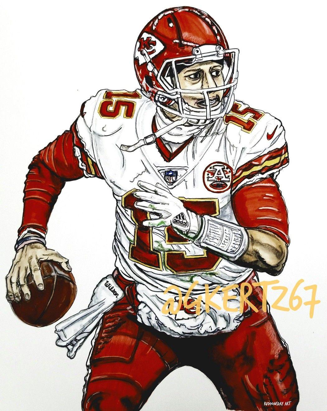 Patrick Mahomes Ii Kansas City Chiefs Qb 15 Artwork By Glen Kertes Nfl Football Art Sports Art Football Art