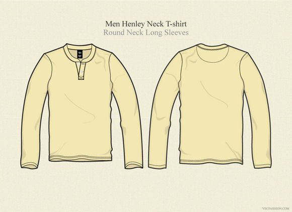 Check out Men Henley Neck T Shirt Long Sleeves by VecFashion on Creative Market