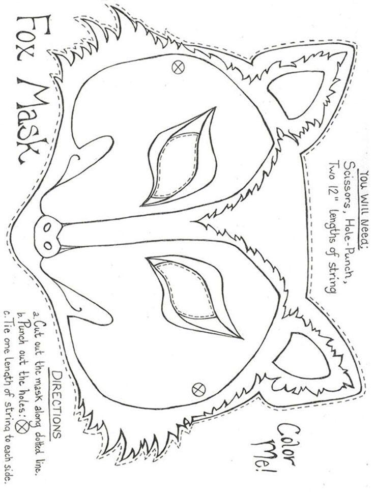 felt pattern  fox mask wolf mask paper mask template