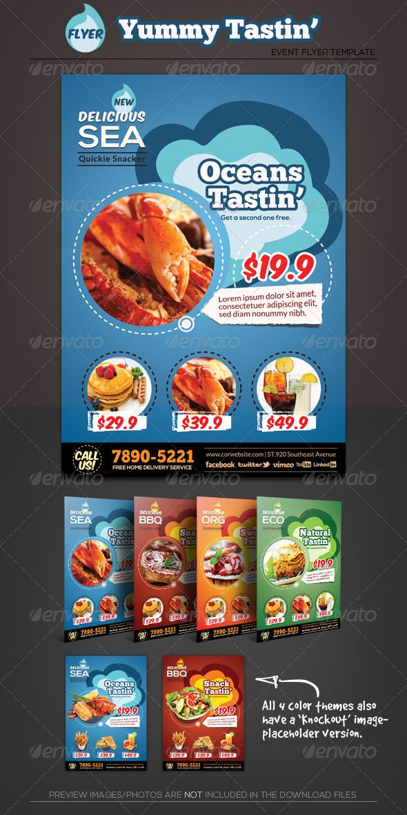 Yummy Tasting Restaurant Flyer Template  Photoshop Psd Bbq Meal