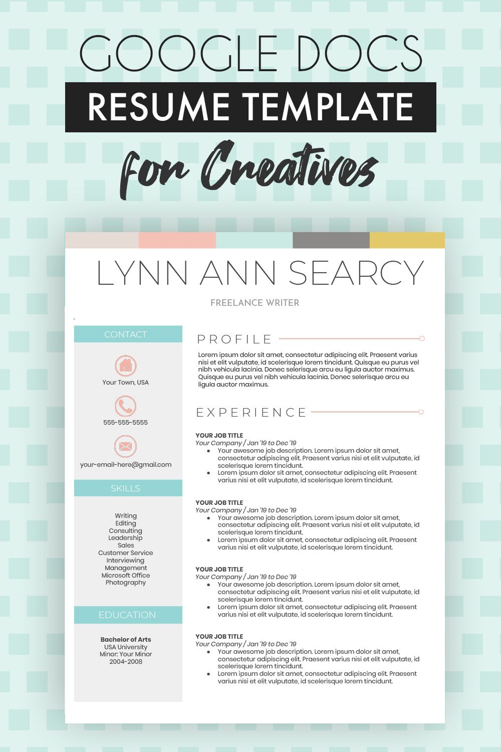 Google Docs Resume Template One Page Plus Cover Letter