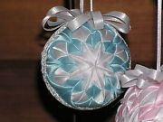 Handmade Quilted Christmas Ball Ornament - Baby BLUE