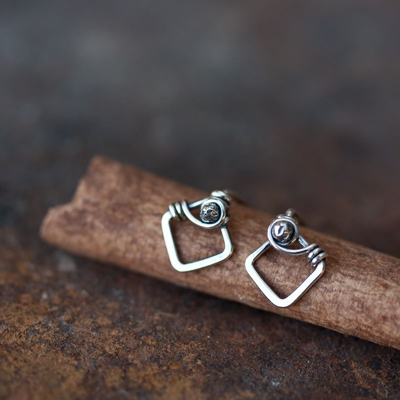 Handmade Wire Wrapped Stud Earrings | Small Silver Stud Earrings | A ...