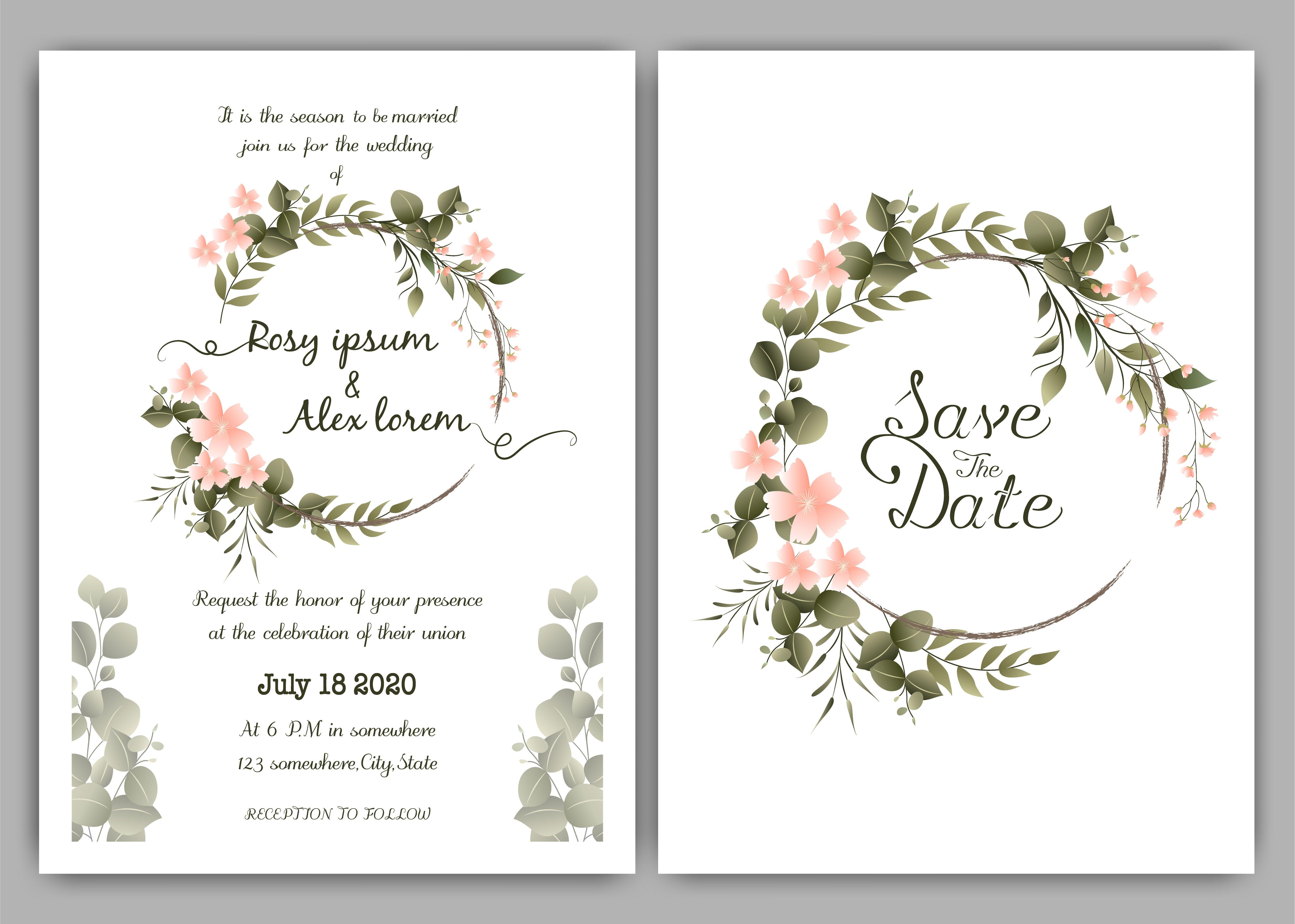 Greenery Wedding Invitation Template Eucalyptus Wedding Invitati Watercolor Floral Wedding Invitations Greenery Wedding Invitations Muslim Wedding Invitations