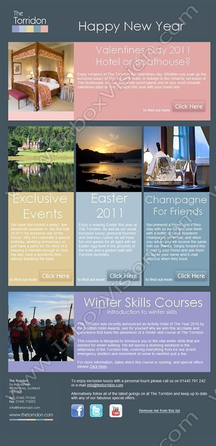 Company:    Loch Torridon Hotel Ltd   Subject:    Happy New Year From The Torridon             INBOXVISION is a global database and email gallery of 1.5 million B2C and B2B promotional emails and     newsletter templates, providing email design ideas and email marketing intelligence http://www.inboxvision.com/blog