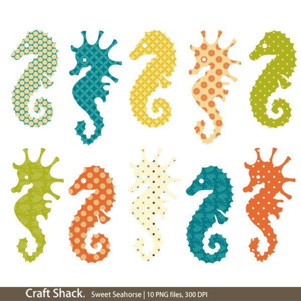 Seahorse Clipart, Colorful Seahorses, Ocean Creatures Clipart, Sea ...