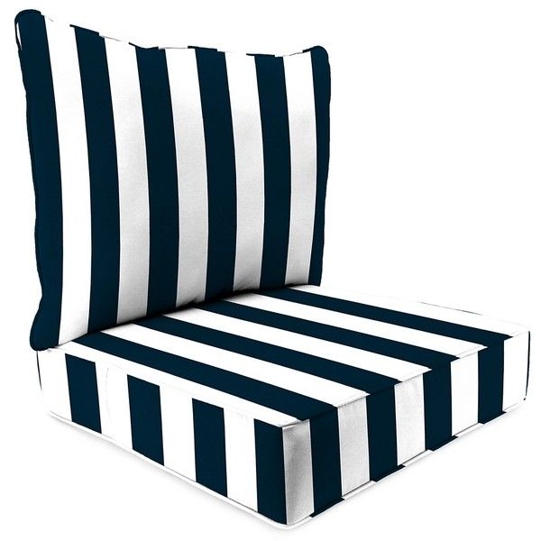 Navy Blue Patio Chair Cushions Office With Desk Attached Stripe 2 Pc Outdoor Cushion Set 130 Liked On Polyvore Featuring Home Outdoors Furniture Garden