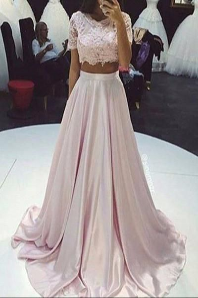 ae7b086d8f9 AHP030 Lace Bodice Light Pink Satin Two Pieces Prom Dresses with Short  Sleeve 2017 two piece bare midriff prom dress