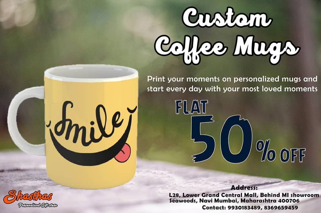Personalised mug printing Make photo mugs online with customised text and logos Choose from different types sizes and colours Order your Design Now Shasthas  Personalised...