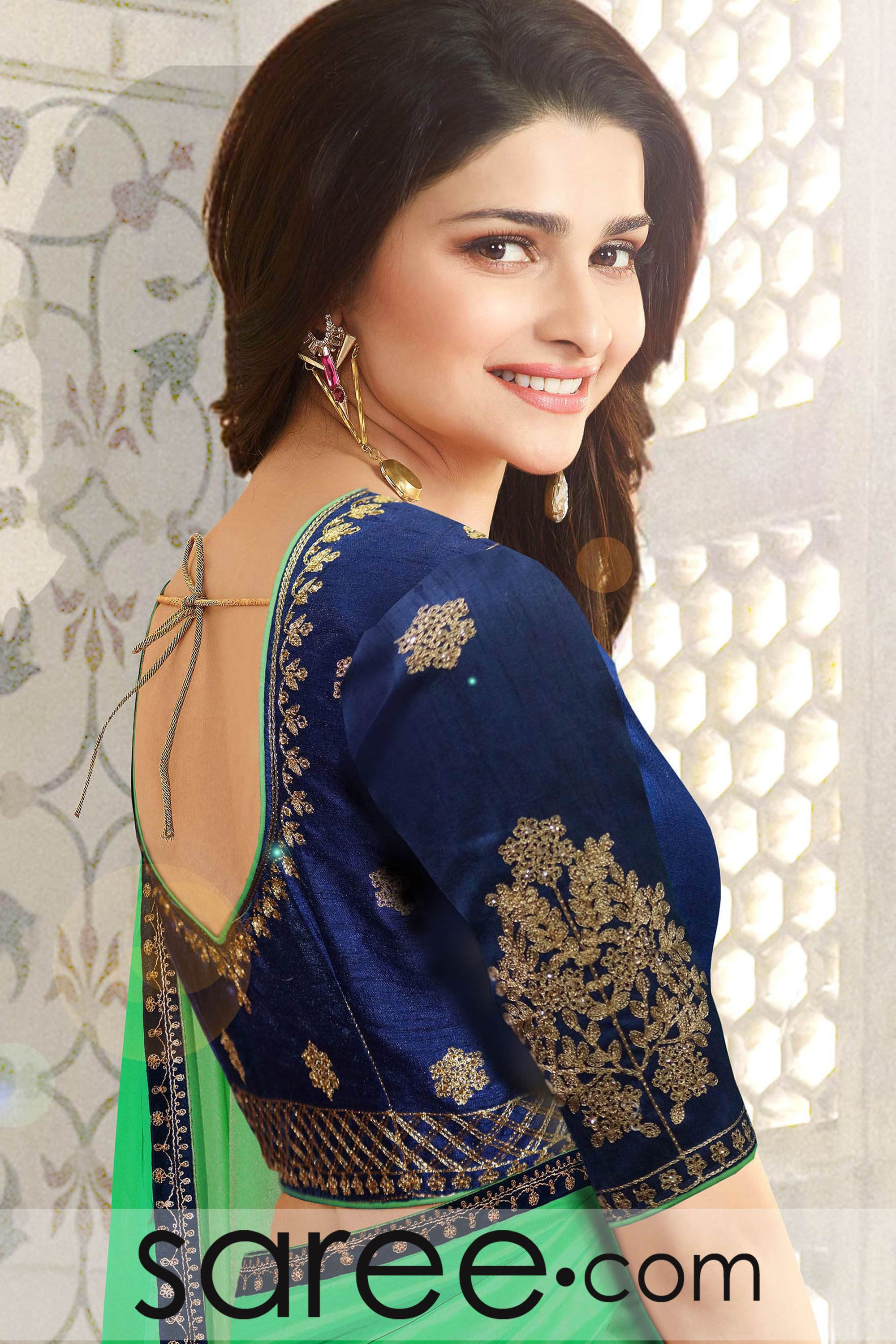 712148c9ddca18 Prachi Desai Green Silk Saree with Zari Embroidery Work