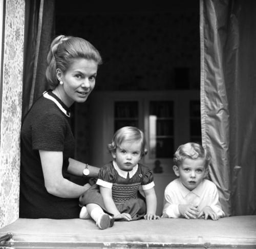The Duchess of Kent with her children the Earl of St Andrews and Lady Helen Windsor