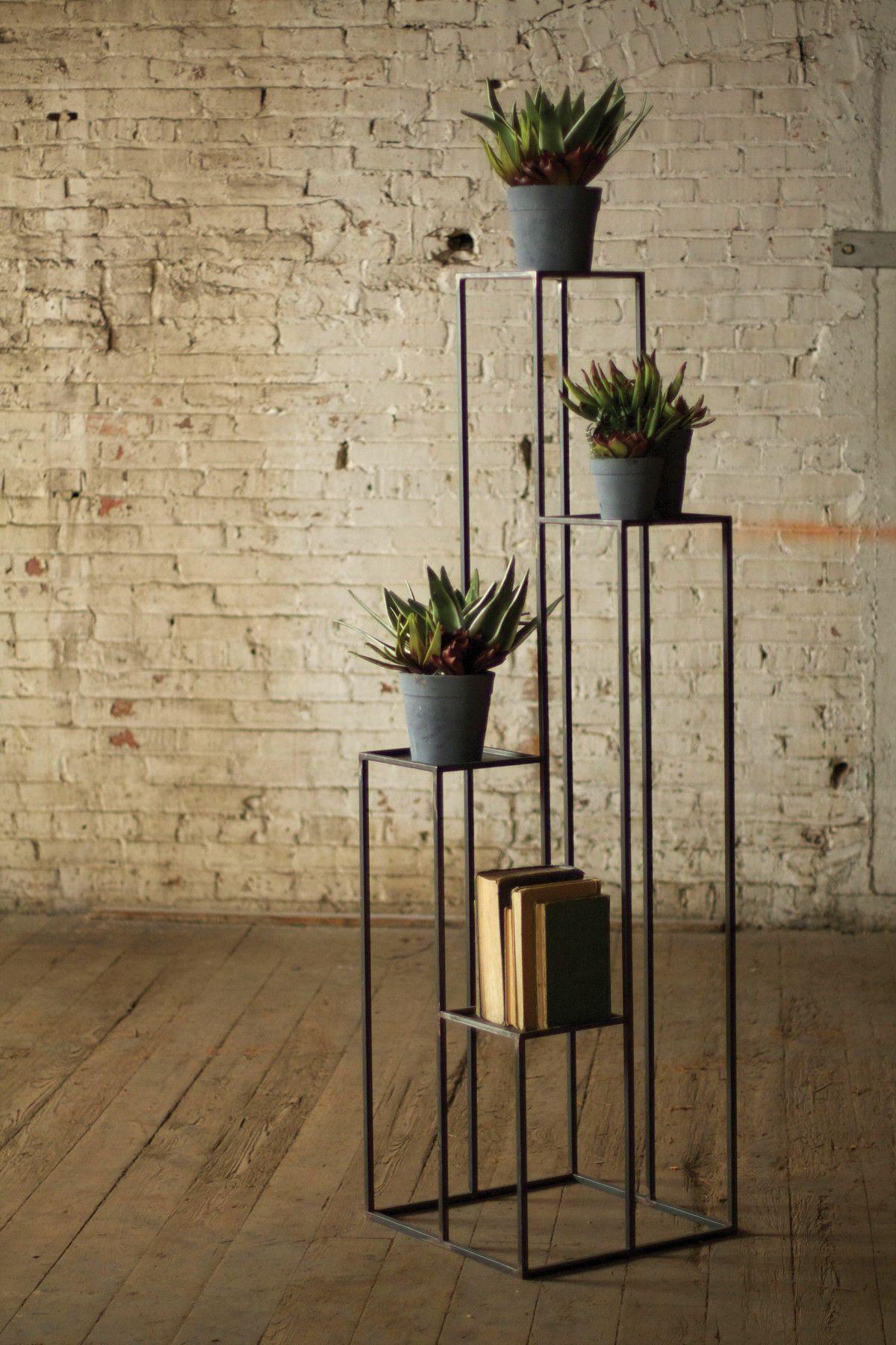 Tall multilevel iron pedestals decoraci n creativa macetas y plantas - Pedestal para plantas ...