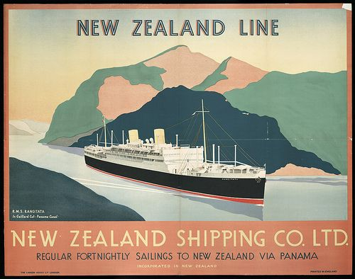 Shipping poster, 1930s NZ Shipping Co NZ National Library collection