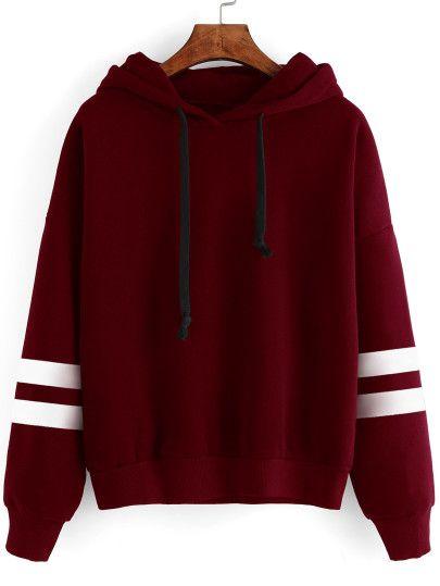 811cef61bb5 Burgundy Drop Shoulder Varsity Striped Hooded Sweatshirt