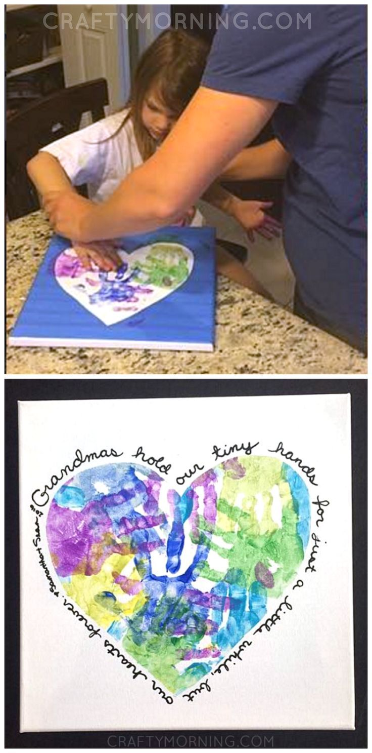 Heart handprint canvas for grandma or mom on motherus day great