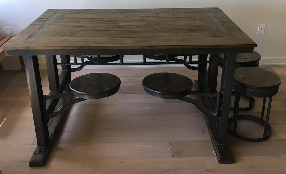 World Market Galvin Cafeteria Table Metal Beams Lenga Wood 2