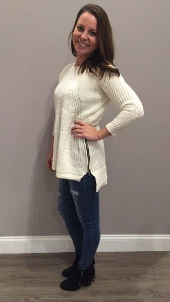 We love the zipper detail on this ivory sweater! $51 #details #apricotlane #apricotlanedesmoines #zipper #newarrivals