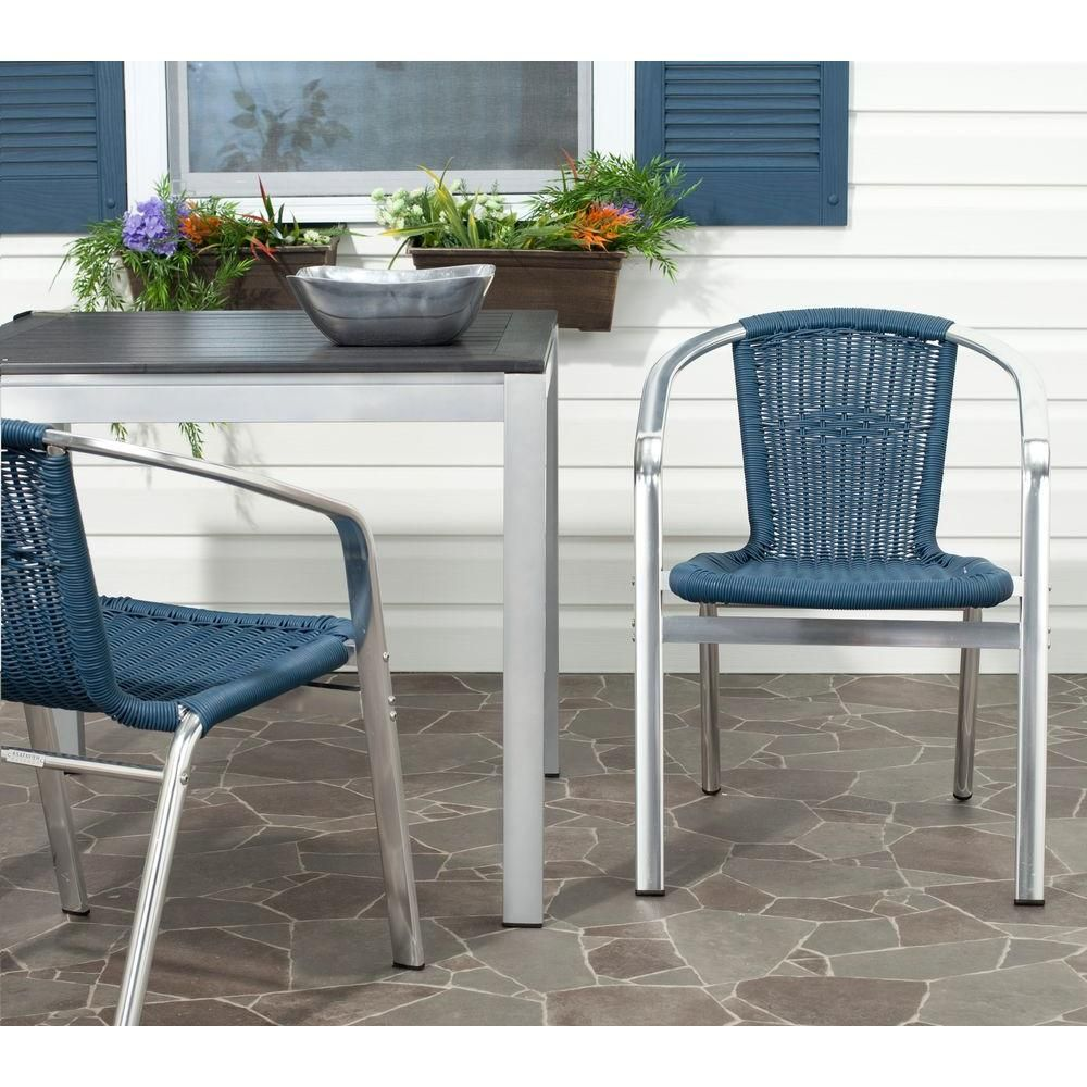 Safavieh wrangell teal indooroutdoor patio stacking armchair set