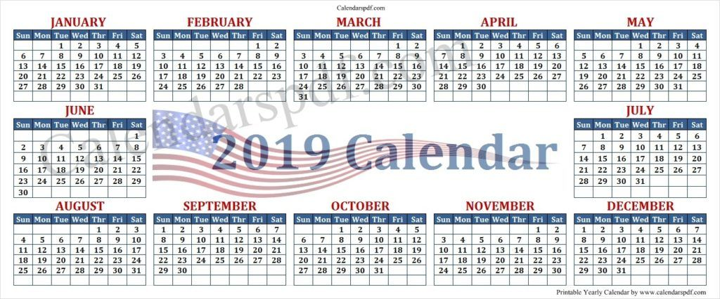 2019 United States Government Calendar State Government