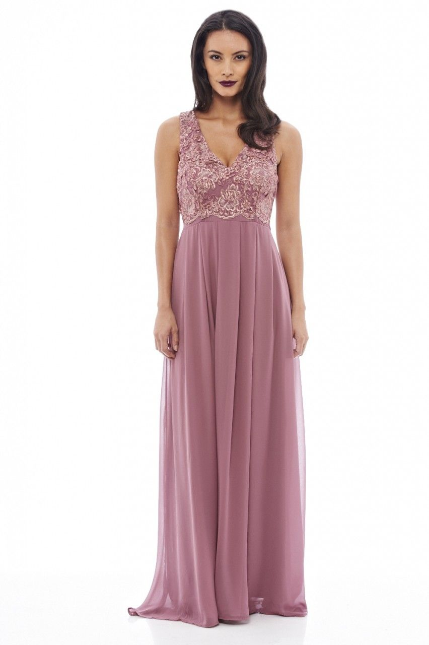 6e71970d93 AX Paris Women s Lace Top Maxi Mauve Dress - Online Exclusive