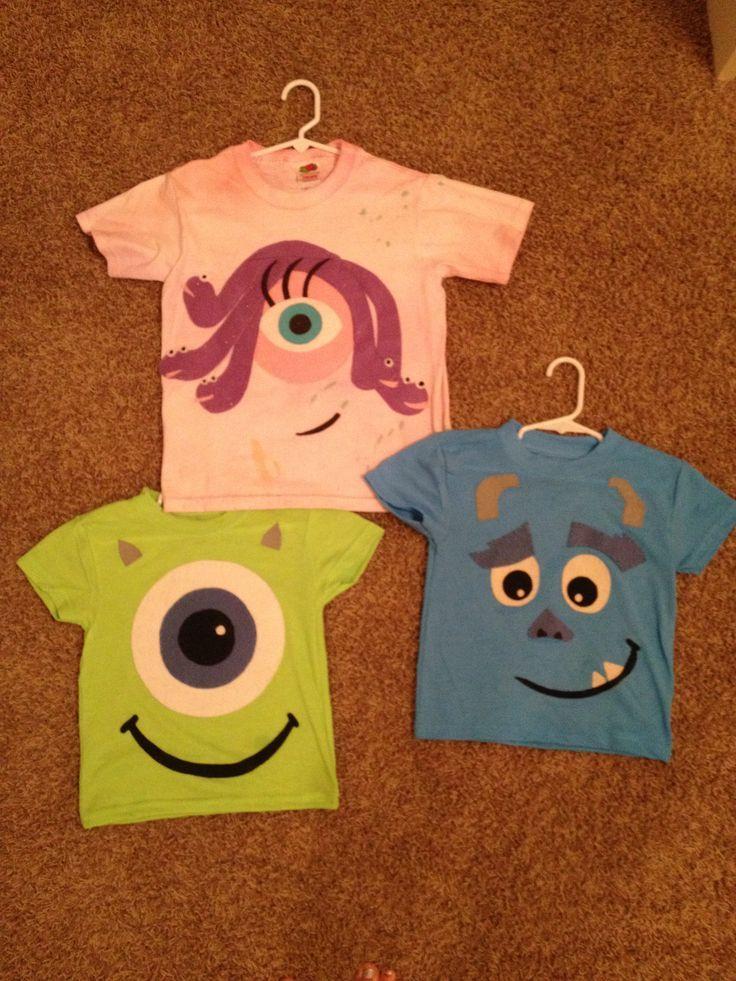 homemade celia mike wazowski sully shirts my kids wore for my - Homemade Halloween Shirts