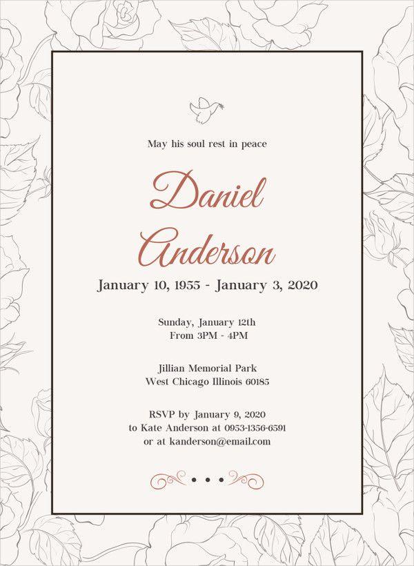 Psd Ai Free Premium Templates Funeral Invitation Memorial Service Invitation Invitation Wording