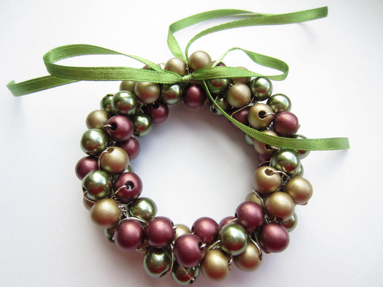 Mini Christmas Wreath, Christmas Decorations, Christmas Ornaments, Beaded Christmas  Wreath, Christmas Decor