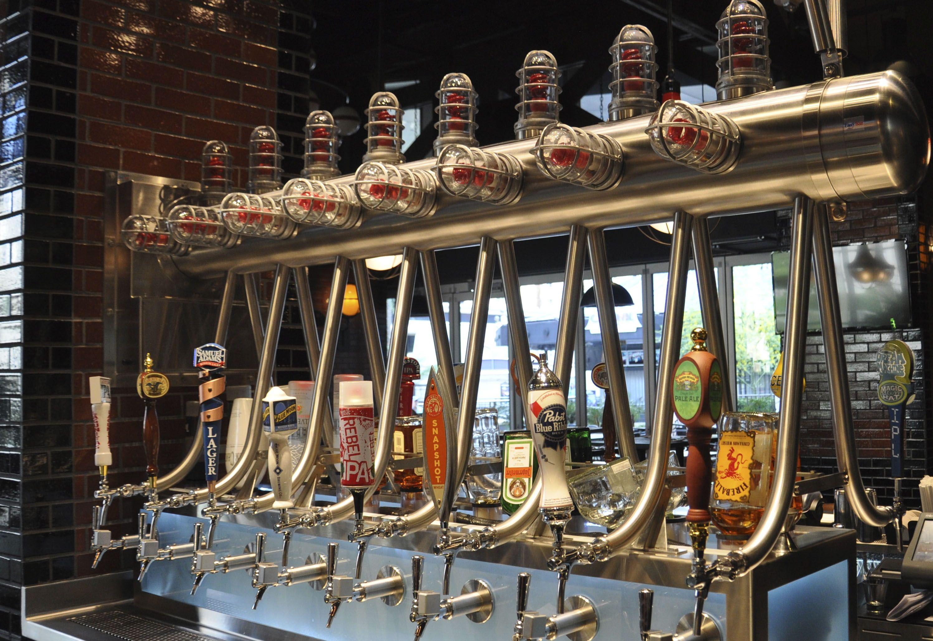 Custom Draft Beer Tower Installed At Guy Fieri S Vegas Kitchen And Bar Draft Beer Tower Beer Tower Draft Beer