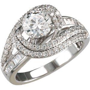 Diamond engagement ring with vintage swirl design