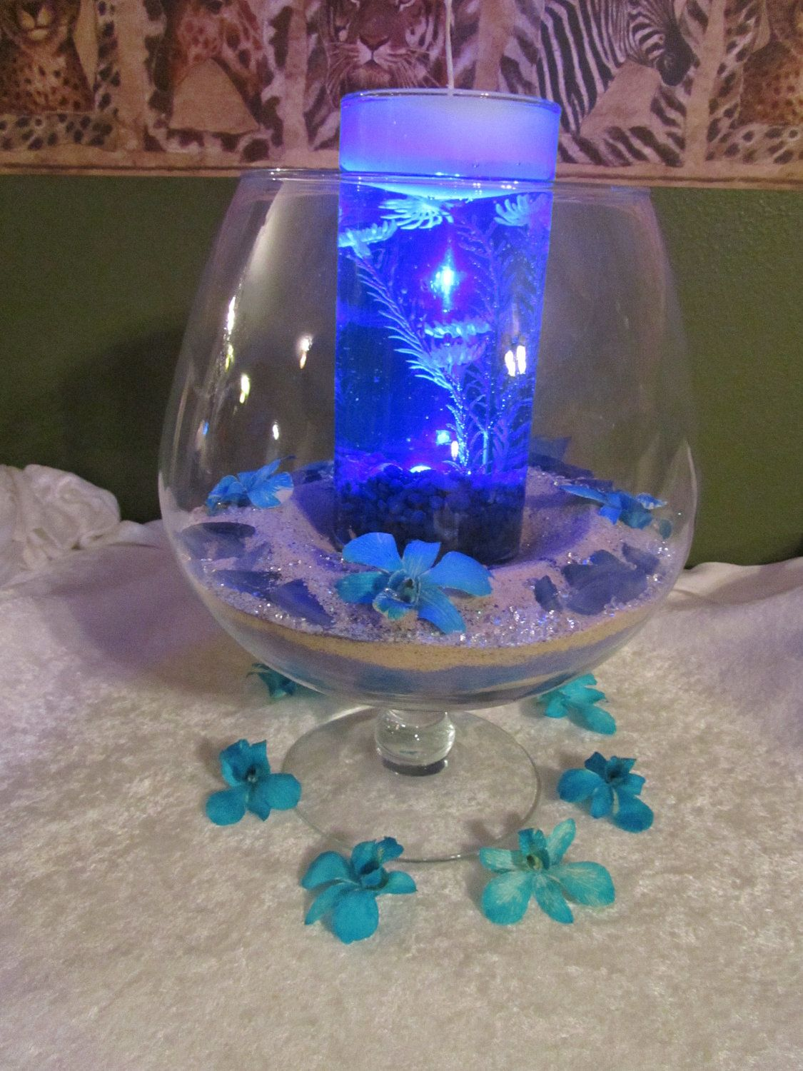 Sand centerpeice with blue waterproof light in inner vase
